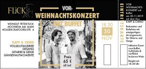 Vor-Weihnachtskonzert 'all inclusive' am 30.11.19 @ Weingut Peter Flick